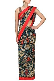 Navy Blue Embroidered Saree with Blouse Set by Aharin India
