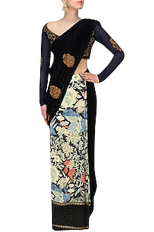 Black Zardozi Embroidered Saree and Blouse Set by Aharin India