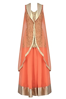 Gold Embroidered Long Kurta with Orange Skirt and Cape by Aharin India