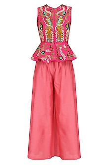 Pink Birds Embroidered Jacket and Pants Set by Aharin India