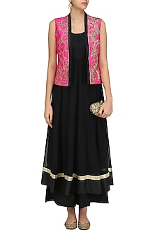Black Anarkali and Palazzo Pants with Floral Embroidered Jacket by Aharin India