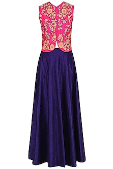Pink Gota Patti Embroidered Jacket with Blue Lehenga Skirt by Aharin India