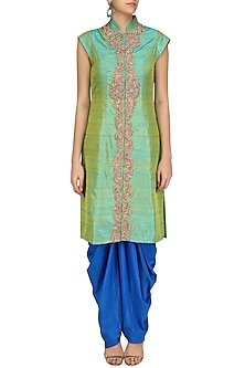 Pista Green Zari Embroidery Achkan with Blue Dhoti Pants by Aharin India