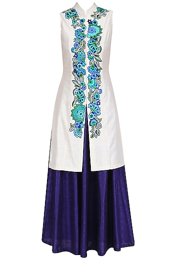 Ivory Floral Embroidered Jacket with Blue Lehenga Skirt by Aharin India