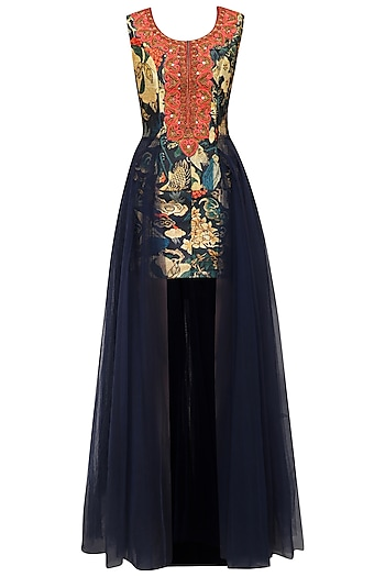 Navy Blue Printed and Net Flared Gown by Aharin India