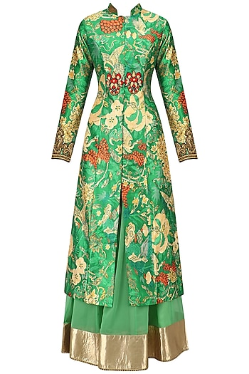 Turquoise Green Embroidered Achakan Jacket and Skirt Set by Aharin India
