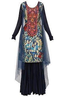 Navy Blue Embroidered Kurta, Sharara Pants and Cape Set by Aharin India