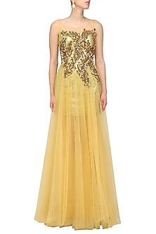Gold Sequins Embroidered and Net Flared Dress by Aharin India