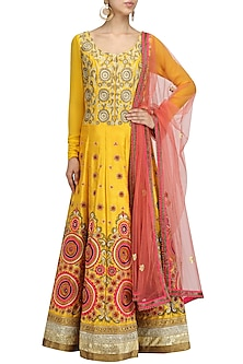 Yellow Embroidered Kalidaar Anarkali with Pink Dupatta Set by Aharin India