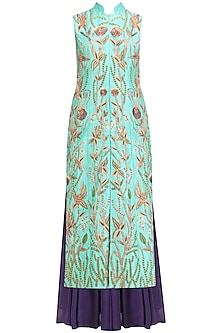Turquoise Jaal Embroidered Kurta with Mauve Lehenga and Dupatta Set by Aharin India
