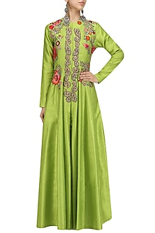 Lime Green Embroidered Flared Anarkali Jacket with Palazzo Pants by Aharin India