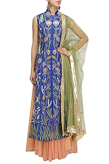 Cobalt Blue Embroidered Kurta with Lehenga and Dupatta Set by Aharin India