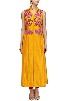 Mustard Embroidered Kurta with Dhoti Pants Set by Aharin India