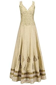 Gold Embroidered Flared Anarkali and Dupatta Set by Aharin India