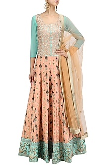 Turquoise and Peach Embroidered Kalidaar Anarkali and Orange Dupatta Set by Aharin India
