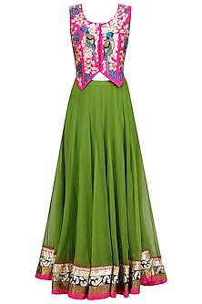 Pink Birds Embroidered Waistcoat and Green Lehenga Skirt Set by Aharin India