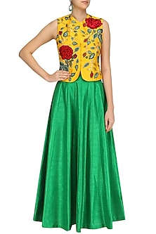 Yellow Rose Embroidered Jacket and Green Skirt Set by Aharin India