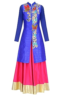 Blue Butterfly Embroidered Long Jacket and Pink Skirt Set by Aharin India