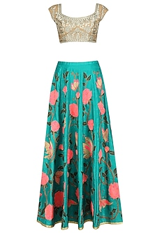 Turquoise Blue Floral Work Lehenga Skirt with Gold Blouse by Aharin India