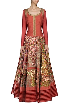 Maroon Floral Embroidered Anarkali by Aharin India