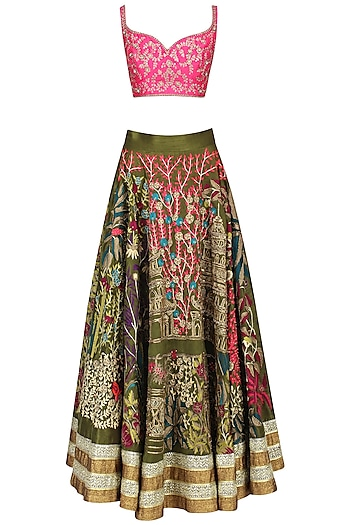 Pink And Olive Floral Embroidered Lehenga Set by Aharin India