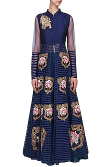 Navy Embroidered Long Jacket With Teal Skirt by Aharin India