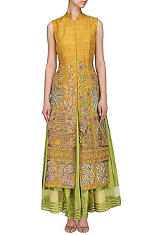 Mustard Yellow Embroidered Jacket With Lime Green Skirt by Aharin India