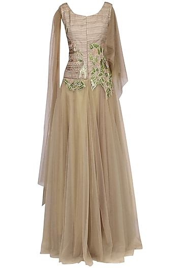 Gold Floral Embroidered Drape Gown by Aharin India
