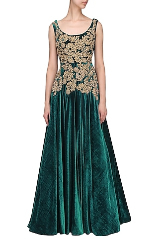 Teal And Gold Floral Embroidered Gown by Aharin India