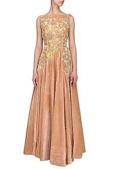 Peach And Gold Flower Embroidered Gown by Aharin India