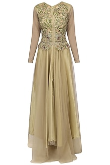 Gold Flora And Fauna Embroidered Gown by Aharin India
