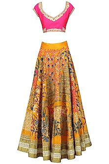 Pink And Yellow Floral And Temple Embroidered Lehenga Set by Aharin India