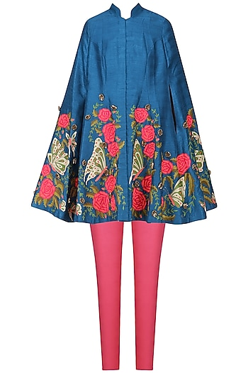 Teal Embroidered Cape with Pink Fitted Pants by Aharin India