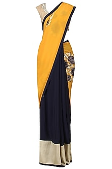 Navy and Yellow Embroidered Saree with Gold Blouse by Aharin India