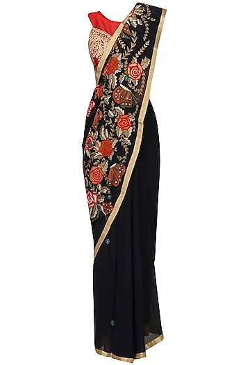 Navy Embroidered Saree with Red Blouse by Aharin India