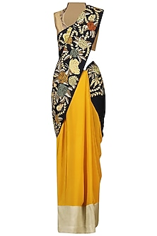 Yellow and Navy Embroidered Saree with Gold Blouse by Aharin India