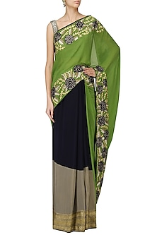 Navy and Green Embroidered Saree with Grey Blouse by Aharin India