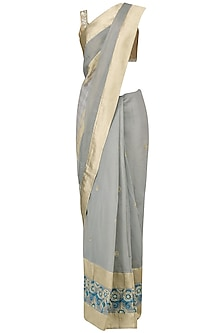 Grey Embroidered Striped Saree with Gold Blouse by Aharin India