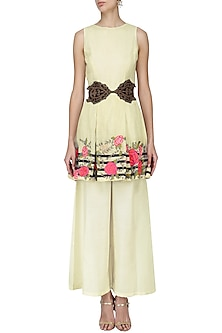 White Floral Embroidered Tunic with Palazzo Pants Set by Aharin India