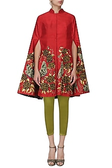 Maroon Embroidered Cape with Olive Fitted Pants Set by Aharin India