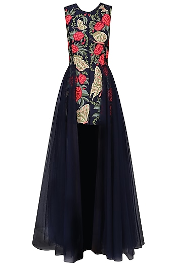 Navy Blue Embroidered Trail Dress by Aharin India
