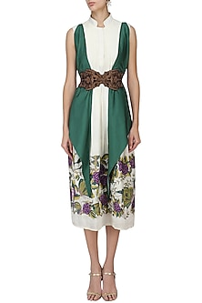White Embroidered Tunic with Green Jacket and Belt by Aharin India