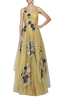 Gold Embroidered Layered Gown by Aharin India