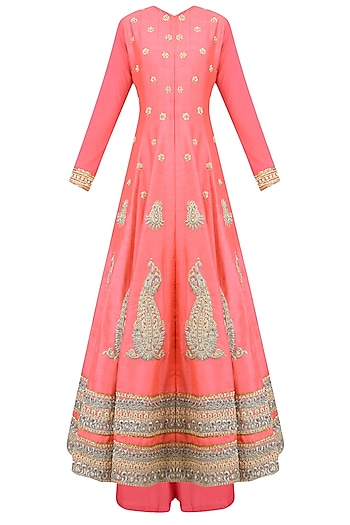 Coral Paisley Motifs Embroidered Anarkali Set with Palazzo Pants by Aharin India