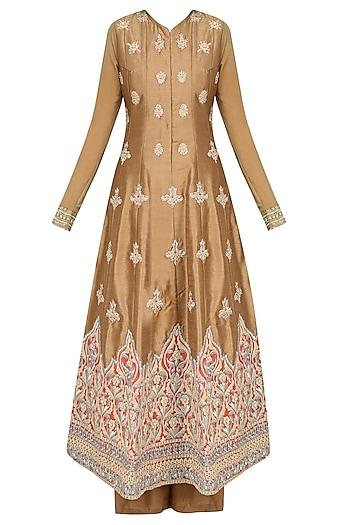 Dark Brown Pearl and Zari Embroidered Anarkali Set with Palazzo Pants by Aharin India