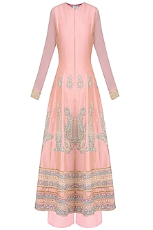 Peach Paisley Motif Embroidered Anarkali Set with Palazzo Pants by Aharin India