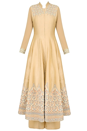 Beige Ornate Floral Embroidered Anarkali Set with Palazzo Pants by Aharin India