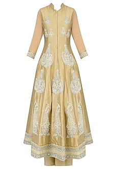 Light Gold Paisley Motif Embroidered Anarkali Set with Palazzo Pants by Aharin India