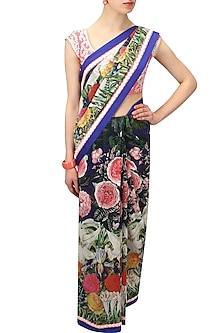 Blue Floral Printed Saree with Pink Embroidered Blouse by Aharin India