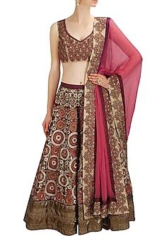 Dark Purple Zardozi and Resham Embroidered Lehenga and Gold Blouse Set by Aharin India